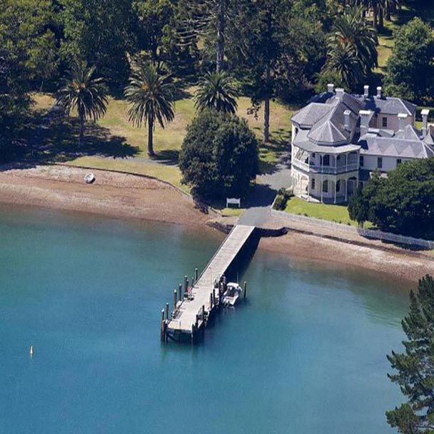 Aerial view of Mansion House jetty and beach on Kawau Island
